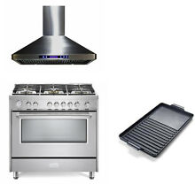 Verona Designer Series 36  All Gas Range Oven 3 pc Package Stainless Steel