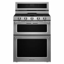 30  Stainless Steel Freestanding Natural Gas Double Oven Range with Griddle   Co