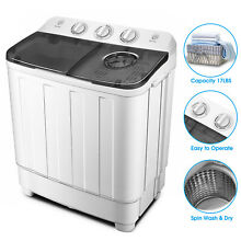 Portable 17lbs Mini Washing Machine Twin Tub Top Load Compact Washer Spin Dryer