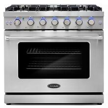36 in  Slide In Freestanding Gas Range with 6 Italian Burners   Convection Oven