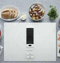 GE Profile 30  Downdraft Electric Cooktop White Glass Top PP9830TJWW