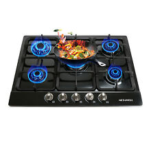 WINDMAX 28  Stainless Steel 5 Burners Gas Hob Cooktops NG LPG Built In Stoves US