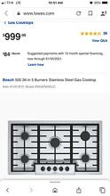 Bosch NGM5656UC 500 Series 36  Gas Cooktop with Dual Stacked Burner Stainless