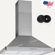 Carbon Filters Ducted 36  Stainless Steel Wall Mount Kitchen Range Hood
