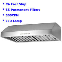 30  Under Cabinet Stainless Steel Mesh Filter Range Hood Kitchen Vented Cook Fan