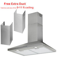 30  Wall Mount Stainless Steel Range Hood LED Mesh Filter Stove Fan Push Button