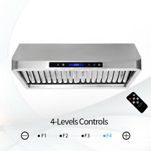 Range Hood 30  Stainless Steel Kitchen Wall Mount Led Touch Panel Control CFM