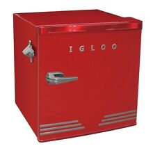 Igloo 1 6 Cu  Ft  Mini Refrigerator  Red   Retro Design   Built In Bottle Opener
