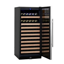 KingsBottle Built in Wine Cooler  Glass Door with Stainless Trim Wood shelves