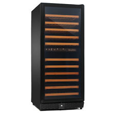 KingsBottle Dual Zone Wine Cooler  Glass Door with Black Trim 100DBP