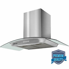 36  LED Stainless Steel Wall Mount Range Hood Stove Vent Fan Touch Panel Kitchen