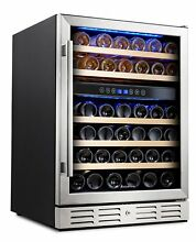 Kalamera 46 Bottle  Dual Zone  24  Stainless Steel Wine Cooler Fridge  Built in