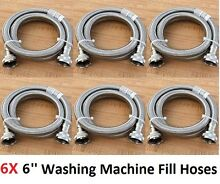 NEW 6 Packs 6 ft Stainless Steel Inlet Fill Hose For Washer Washing Machine