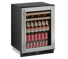 U line 1224Bevs 105 Bottle Beverage   Wine Cooler  Black Interior Stainless Door
