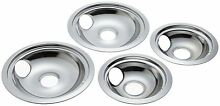 Electric Stove Drip Pans Pack of 4 GE Hotpoint Range Chrome Reflector Bowls Slot