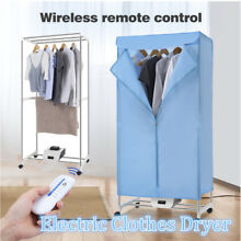 Electric Clothes Dryer Rack w  4 Caster Portable Wardrobe Timer Remote Control