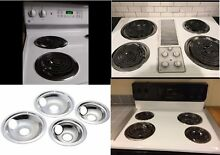 4 Electric Stove Drip Pans Burner Set Frigidaire Whirlpool GE Stanco Made in USA