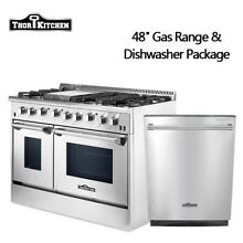 Thor Kitchen 48 Gas Range 2 ovens built in 24inch dishwasher Stainless Steel