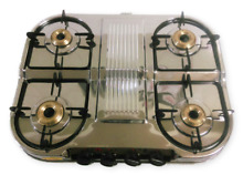 STAINLESS STEEL FOUR 4 BRASS BURNERS GAS STOVE COOKTOP TABLE TOP HOB LPG SLEEK