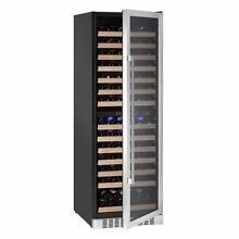Dual zone wine refrigerator with seamless stainless steel glass door
