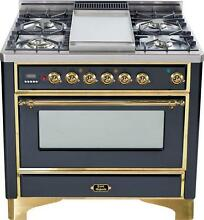 Ilve UM90FDVGGM Majestic 36  Pro All Gas Range Oven 4 Burners With Griddle
