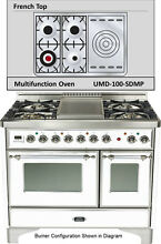 Ilve UMD100SDMPBX 40  Majestic Dual Fuel Gas Range Double Oven French Top