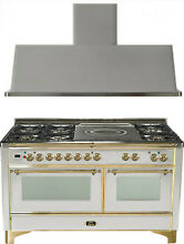 Ilve UM150SDMPI Majestic 60  Dual Fuel Gas Range Oven French Top 2pc Package