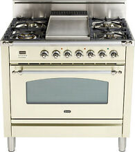 Ilve UPN90FDVGGAX Nostalgie 36  Gas Range Single Oven Convection Antique White