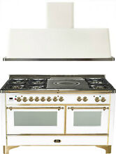 Ilve UM150SDMPB Majestic 60  Dual Fuel Gas Range Oven French Top 2pc Package