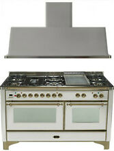 Ilve UM150FDMPIY Majestic 60  Pro Dual Fuel Gas Range Double Oven 2Pc Package