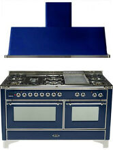 Ilve UM150FDMPBLX Majestic 60  Pro Dual Fuel Gas Range Double Oven 2Pc Package