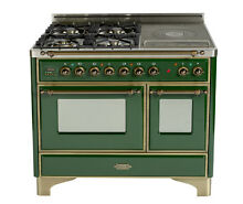 Ilve UMD100SDMPVSY AMC100Y Majestic Pro 40  Dual Fuel Gas Range Oven French Top