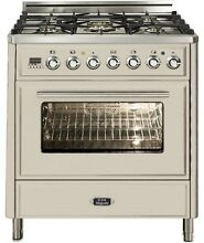 Ilve UMT76DMPA Majestic Techno 30  Pro Dual Fuel Range Oven Antique White