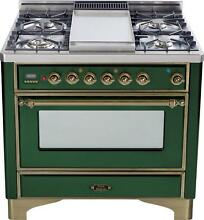 Ilve UM90FDVGGVSY Majestic Series 36  Pro Gas Range Oven 4 Burners With Griddle