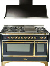 Ilve UM120FDMPM Majestic 48  Pro Dual Fuel Gas Range Oven Hood Kitchen Package