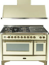 Ilve UM120SDMPAY 48  Dual Fuel Range French Top Double Oven Hood Kitchen Package