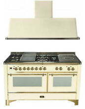 Ilve UM150FSDMPA 60  Dual Fuel Gas Range Oven Griddle French Top 2pc Package