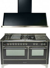 Ilve UM150FSDMPMX 60  Dual Fuel Gas Range Oven Griddle French Top 2pc Package