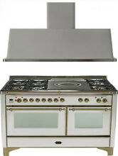 Ilve UM150SDMPIY Majestic 60  Dual Fuel Gas Range Oven French Top 2pc Package