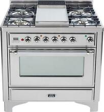 Ilve UM90FDVGGIX Majestic 36  Gas Range Oven 4 Burners Griddle Stainless Steel