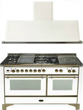 Ilve UM150FSDMPBY 60  Dual Fuel Gas Range Oven Griddle French Top 2pc Package