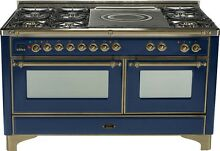 Ilve UM150SDMPBLY Majestic 60  Pro Dual Fuel Gas Range Double Oven French Top