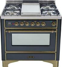 Ilve UM90FDVGGMY Majestic Series Pro 36  Gas Range Oven 4 Burners With Griddle