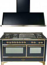 Ilve UM150SDMPM Majestic 60  Dual Fuel Gas Range Oven French Top 2pc Package