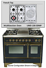 Ilve UMD100SDMPNY Majestic Pro 40  Dual Fuel Gas Range Double Oven French Top