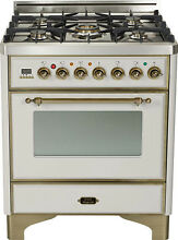 Ilve UM76DVGGIY Majestic Pro 30  All Gas Range Oven Stainless Steel Bronze Trim