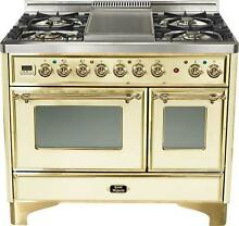 Ilve UMD100FDMPA 40  Majestic Pro Dual Fuel Gas Range Double Oven Antique White