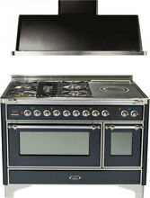 Ilve UM120SDMPMX 48  Dual Fuel Range French Top Double Oven Hood Kitchen Package