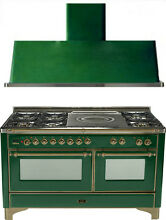Ilve UM150SDMPVSY Majestic 60  Dual Fuel Gas Range Oven French Top 2pc Package