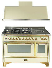 Ilve UM120SDMPA 48  Dual Fuel Range French Top Double Oven Hood Kitchen Package